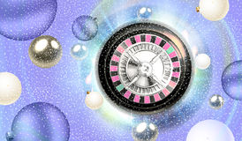 Christmas roulette and silver balls floating Royalty Free Stock Photos