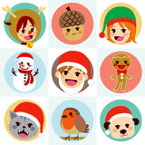 Christmas Round Avatar Characters Royalty Free Stock Images