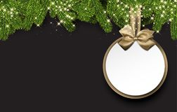 Christmas round background with spruce branches. Royalty Free Stock Photos