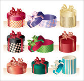 Christmas round boxes - vector Stock Photo