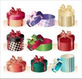 Christmas round boxes - vector Stock Photo