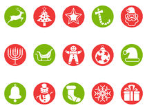 Christmas round button icons set Stock Photos
