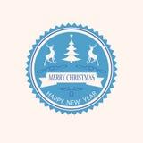 Christmas round emblem Stock Photography