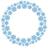 Christmas round frame with blue snowflakes on a white background. Border of sequin confetti. Glitter powder stock illustration
