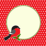 Christmas round frame with bullfinch Stock Photo
