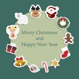 Christmas round frame with Christmas stickers around. Stock Image