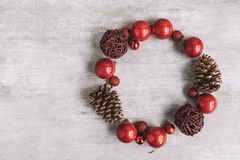Christmas round frame composition on wooden background. Flat lay stock image