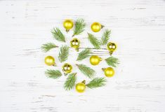 Christmas Round Frame with fir tree, on rustic wood. Christmas Round Frame with fir tree, on rustic wood background royalty free stock photo