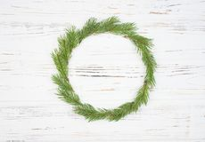 Christmas Round Frame with fir tree, on rustic wood. Christmas Round Frame with fir tree, on rustic wood background royalty free stock photos