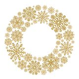 Christmas round frame with gold snowflakes. Border of sequin confetti. Glitter powder sparkling background stock photo