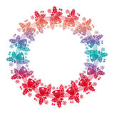 Christmas round frame with holly berry and jingle bells. Copy space. Royalty Free Stock Images