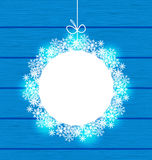 Christmas round frame made in snowflakes on blue wooden backgrou. Illustration Christmas round frame made in snowflakes on blue wooden background - vector Stock Image