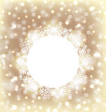 Christmas round frame made in snowflakes on elegant glowing back Royalty Free Stock Photo