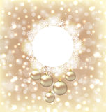 Christmas round frame made in snowflakes and golden balls on bei Stock Photo