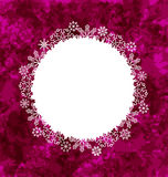 Christmas round frame made in snowflakes on grunge background Royalty Free Stock Photos