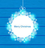 Christmas Round Frame Made in Snowflakes Royalty Free Stock Photo