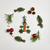 Christmas Round Frame. From Natural Branches and Christmas Balls. Сhristmas Tree. Flat Lay stock images