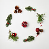 Christmas Round Frame. From Natural Branches and Christmas Balls. Сranberry. Flat Lay stock photo