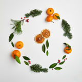 Christmas Round Frame. From Natural Branches and Tangerines. Flat Lay stock images
