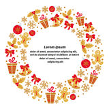 Christmas round frame with place for text. Stock Photos