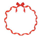 Christmas round frame of red ribbon Stock Photography