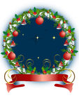 Christmas is round  frame with toys and Holly wrea Royalty Free Stock Photo