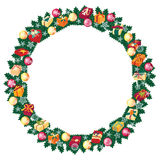 Christmas round frame or wreath of fir branches Royalty Free Stock Photos