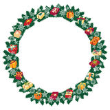 Christmas round frame or wreath of fir branches Royalty Free Stock Images