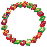 Christmas round frame or wreath of gift boxes Stock Photo