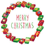 Christmas round frame or wreath of gift boxes Royalty Free Stock Images
