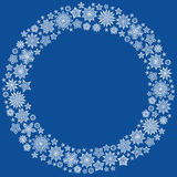 Christmas round frame or wreath of snowflakes Stock Photo