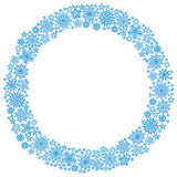Christmas round frame or wreath of snowflakes Royalty Free Stock Photo