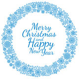 Christmas round frame or wreath of snowflakes Royalty Free Stock Images