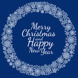 Christmas round frame or wreath of snowflakes Royalty Free Stock Photos