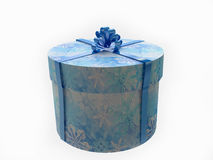 Christmas Round Gift Box Decorated with Snowflakes Stock Photos