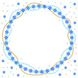 Christmas round greeting frame of gold beads and blue snowflakes Royalty Free Stock Photo