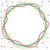 Christmas round greeting frame of gold and red beads and fir bra Royalty Free Stock Photography