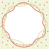 Christmas round greeting frame of gold and red beads Stock Photos