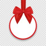 Christmas round paper gift banner with red ribbon and bow. Vector illustration vector illustration