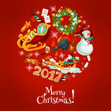Christmas round poster for winter holidays design Royalty Free Stock Photos
