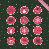 Christmas round stickers pink Stock Photo