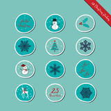 Christmas round stickers Stock Photography