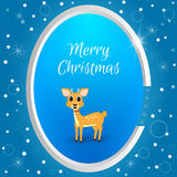 Christmas round tag with a small deer on a blue background with snowflakes. Suitable for web design, postcards, invitations. Stock Images