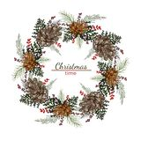 Christmas round wreath with cones and pine branches royalty free illustration
