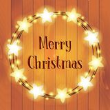 Christmas round yellow light garland wreath on the wood background. Illustration Royalty Free Stock Images