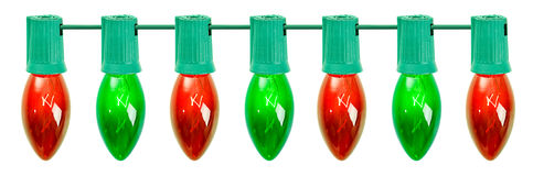Christmas: Row Of Red And Green Bulbs Stock Images