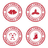 Christmas rubber stamps. Isolated on white background Stock Images