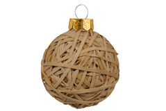 Christmas Rubberband ball. Christmas ball rubberbands isolated over a white background with a clipping path Stock Photos