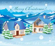 Christmas rural landscape Stock Photos