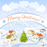 Christmas rural landscape Royalty Free Stock Photography